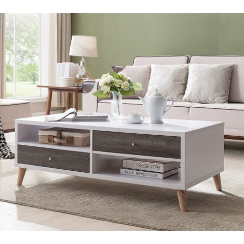 Furniture of America Bago Mid-century White 2-drawer Coffee Table