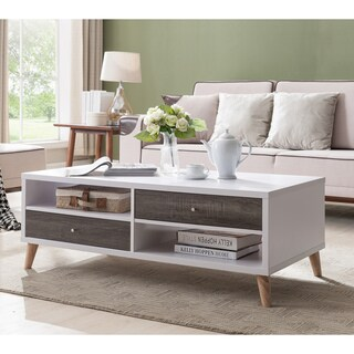 Furniture of America Arella I Mid-Century Modern 2-tone Distressed Grey White Coffee Table