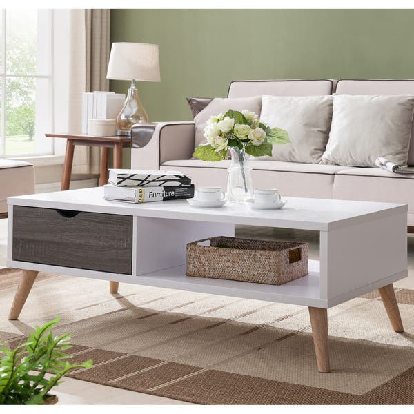 Incredible Shop Arella Ii Modern Distressed Grey White Coffee Table By Dailytribune Chair Design For Home Dailytribuneorg