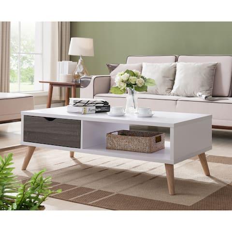 Furniture of America Bjua Modern White 47-inch 1-shelf Coffee Table