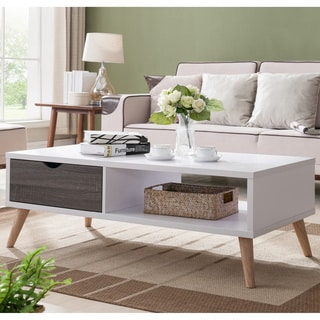 Furniture of America Arella II Mid-Century Modern 2-tone Distressed Grey White Coffee Table