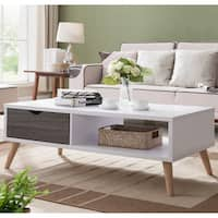 Rectangular mod rotatable coffee table by christopher for Furniture of america inomata geometric high gloss coffee table