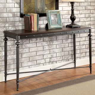 Furniture of America Grimwell Industrial Plank Style Dark Grey Console Table