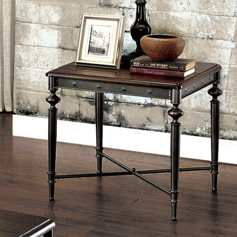 Furniture of America Gete Industrial Grey Metal End Table