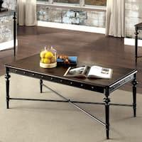 Furniture of America Grimwell Industrial Plank Style Dark Grey Coffee Table