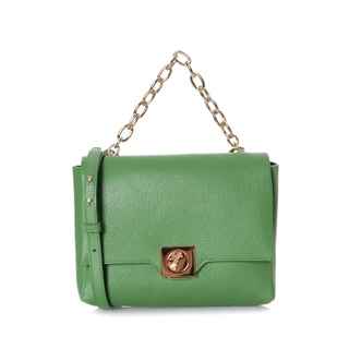 Versace Collection Green Leather Shoulder Handbag