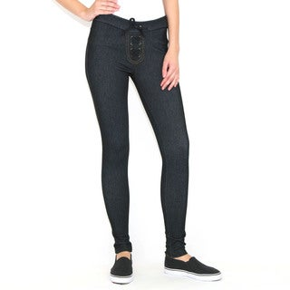 Indero Denim Polyester and Spandex Knit Front Lace-up Jeggings