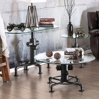 Furniture of America Haymill Industrial 3-piece Glass Antique Black Accent Table Set