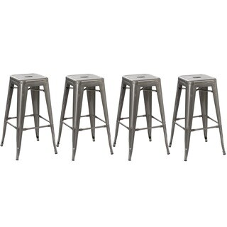 Grey Steel 30-inch Industrial Stackable Counter Bar Stools (Pack of 4)