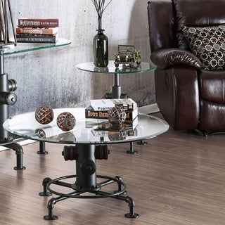 Furniture of America Haymill Industrial 2-piece Glass Top Antique Black Accent Table Set