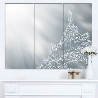 Designart 'Eiffel Tower Art Background' Extra Large Cityscape Wall Art on Canvas