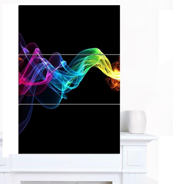 Shop Designart \'Abstract Ribbon Waves on Black\' Abstract Canvas Wall ...