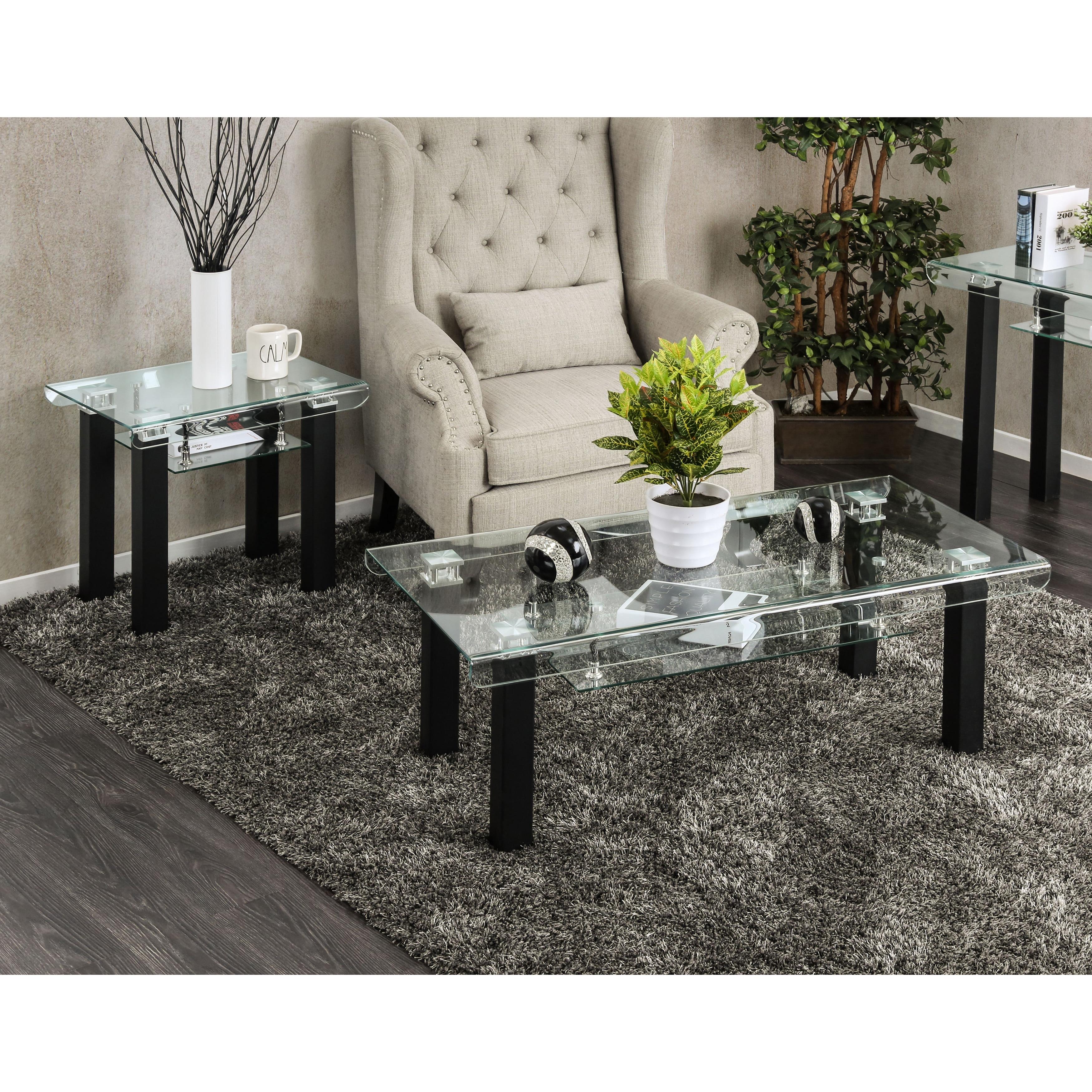 Clay Alder Home Four Bears Contemporary 2-piece Glass Top Matte Black Accent Table Set
