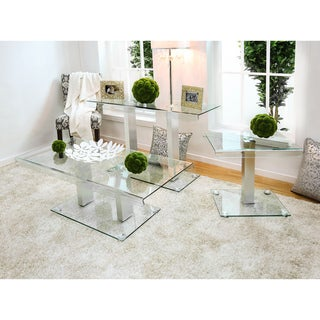 Furniture of America Ezreal Contemporary 3-piece Glass Top Silver Accent Table Set