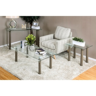 Furniture of America Vill Modern Chrome Metal 3-piece Accent Table Set