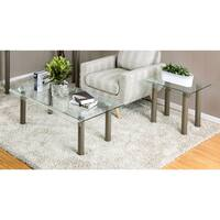 Furniture of America Creme Contemporary 2-piece Glass Top Powder Coated Champagne Accent Table Set