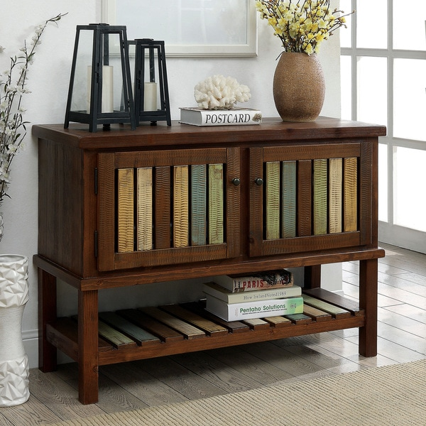 Furniture of America Kaleida Slatted Country Brown Cherry Hallway Cabinet/Table