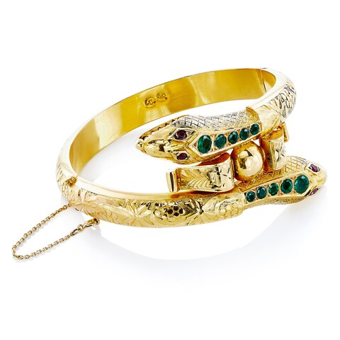 18k Yellow Gold Emerald and Ruby Twin Head Snake Estate Bangle