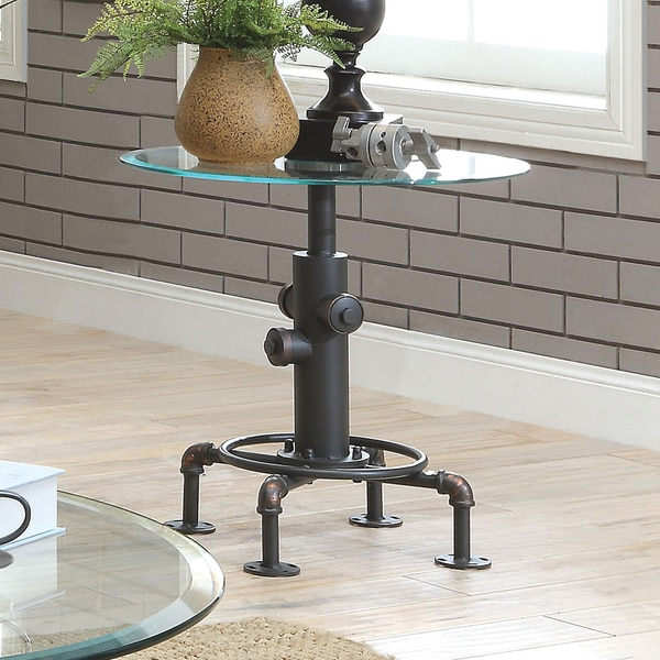 Industrial Storage Coffee Table Review: Shop Furniture Of America Haymill Industrial Glass Antique
