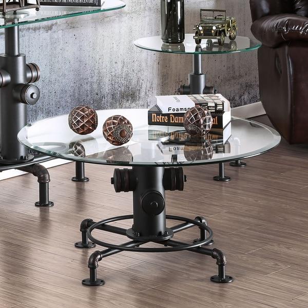 Elegant Carbon Loft Horstmann Haymill Industrial Glass Antique Black Coffee Table