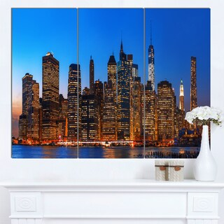 Designart 'Night New York City Panorama' Extra Large Cityscape Wall Art on Canvas