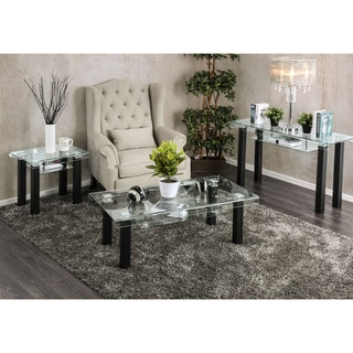 Furniture of America Kassell Contemporary Glass Black Sofa Table