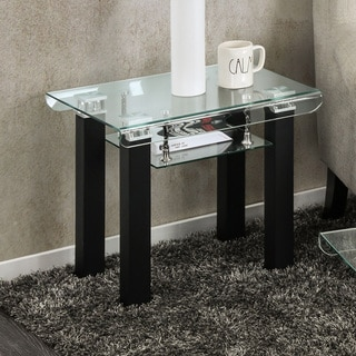 Furniture of America Kassell Contemporary Glass Black End Table