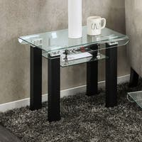 Clay Alder Home Four Bears Contemporary Glass Black End Table