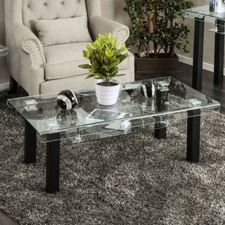 Furniture of America Kassell Contemporary Glass Black Coffee Table