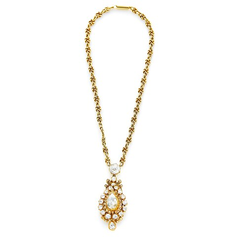 18k Yellow Gold 4 1/4ct TDW Antique Diamond Pendant and Chain Estate Necklace (K-L, I2-I3)