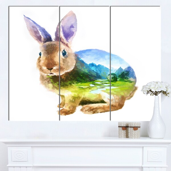 Designart 'Rabbit Double Exposure Illustration' Large Animal Canvas Wall Art Print