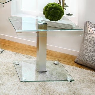 Furniture of America Ezreal Contemporary Glass Top Silver End Table