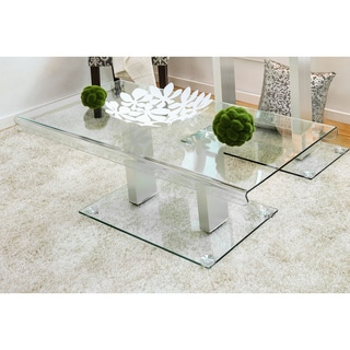 Furniture of America Ezreal Contemporary Glass Silver Coffee Table