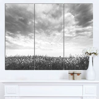 Designart 'Rapeseed Garden in Black and White' Large Landscape Canvas Art