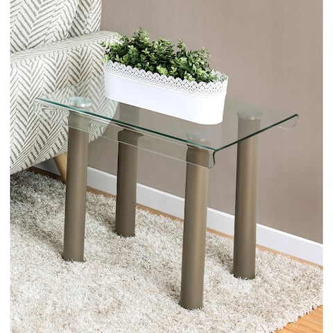 Furniture of America Vill Contemporary Gold Glass Top End Table