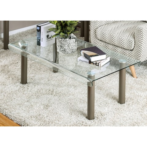 Furniture of America Vill Contemporary Gold Glass Top Coffee Table