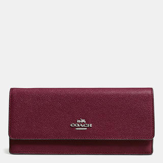 Coach Burgundy Crossgrain Leather Soft Wallet