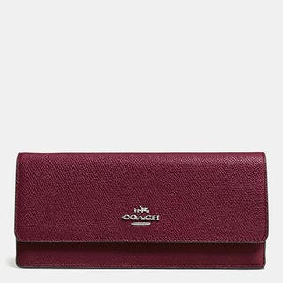 Coach Burgundy Crossgrain Leather Soft Wallet|https://ak1.ostkcdn.com/images/products/13536601/P20216537.jpg?impolicy=medium