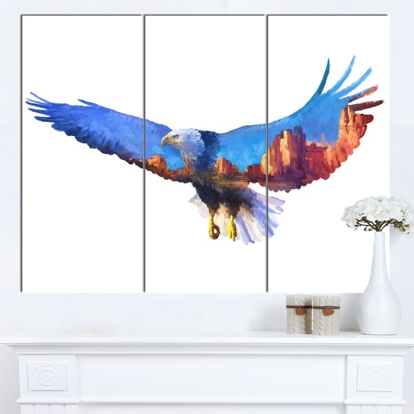 Designart 'Eagle Double Exposure Illustration' Large Animal Canvas Wall Art Print