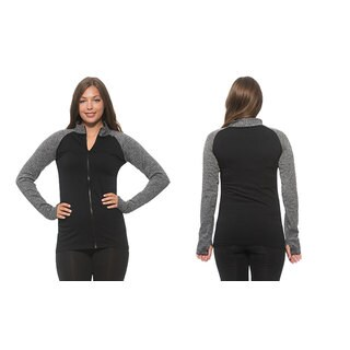 Women's Black Polyester Blend Active Track Jacket with Thumb Holes