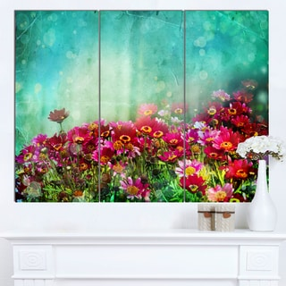 Designart 'Little Red and Pink Flowers on Blue' Floral Canvas Artwork Print