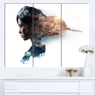 Designart 'Double Exposure Woman Portrait' Modern Portrait Canvas Wall Art