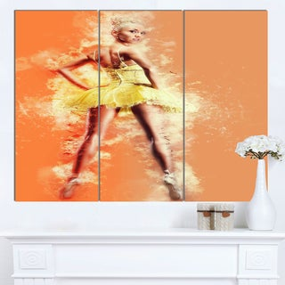 Designart 'Beautiful Ballerina in Yellow Tutu' Modern Portrait Canvas Wall Art