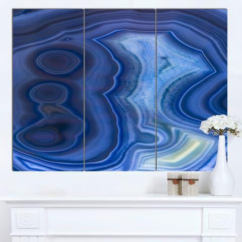 Designart 'Blue Agate Stone Design' Abstract Canvas Wall Art Print - Blue