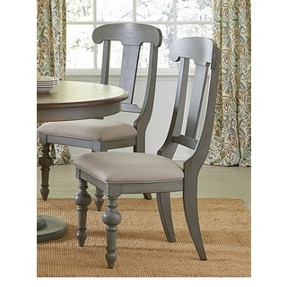 Progressive Colonnades Grey Oak Slat Dining Chairs (Set of 2)