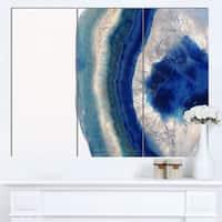 Designart 'Macro of Blue Agate Stone' Abstract Canvas Wall Art Print