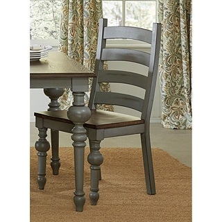 Progressive Colonnades Grey Oak Ladder Dining Chairs (Set of 2)
