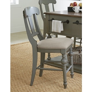 Progressive Colonnades Grey Oak Veneer Rubberwood Slat Counter Chair (Set of 2)