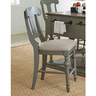 Progressive Colonnades Grey Oak Veneer Rubberwood Slat Counter Chair (Set of 2)