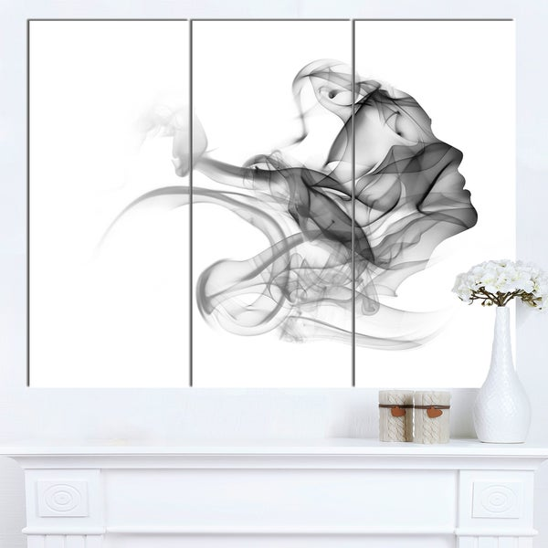 Designart 'Woman and Smoke Double Exposure' Modern Portrait Canvas Wall Art. Opens flyout.